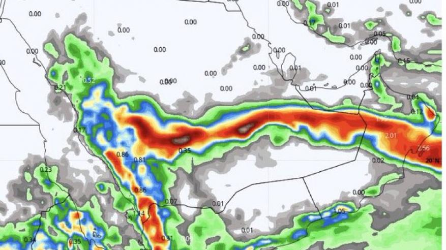 توقعات بحالة مدارية في بحر العرب