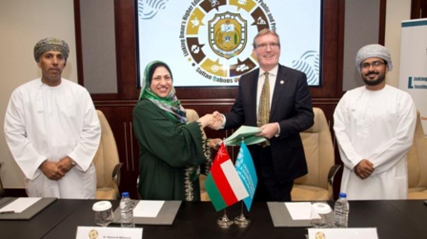 جامعة السلطان قابوس توقع برنامج تعاون بحثي مع شركة عمران