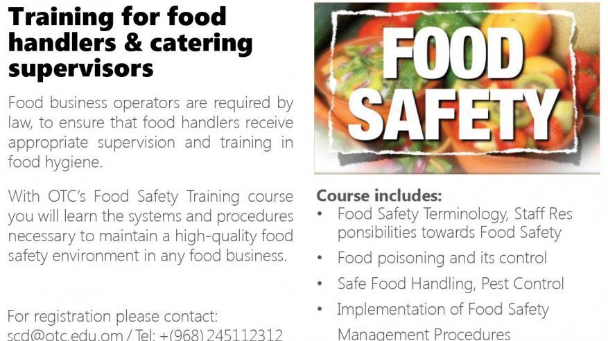 دورة تدريبية عن سلامة وجودة الأغذية بكلية عمان للسياحة.. 11 فبراير