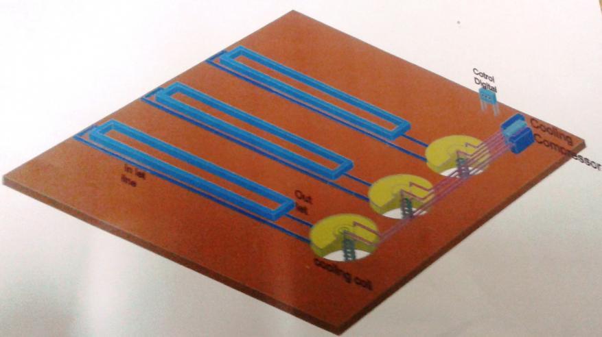 خزانات المحلول المغذي يظهر فيه جهاز تبريد المحلول المغذذي لدرجات الحرارة 22 و25 و28 درجة مئوية