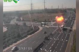 بالفيديو.. شاهد لحظة سقوط صاروخ فلسطيني وسط إسرائيل