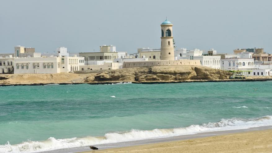 Beaches - Sur beach view with the tower, Sur, Ash Sharqiyah, Oman