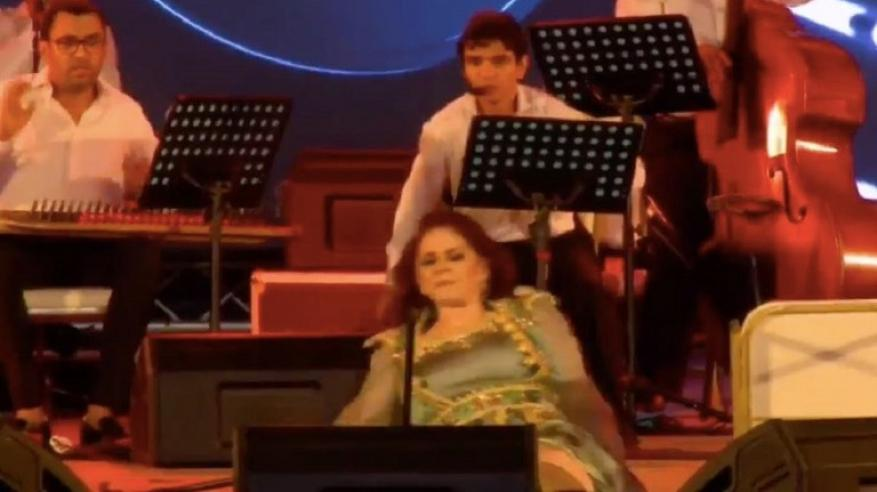 بالفيديو .. ميادة الحناوي تسقط على خشبة المسرح