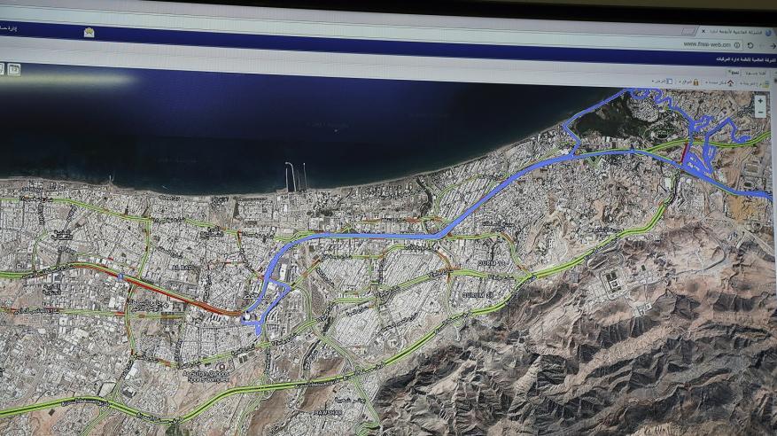 خريطة تفاعلية توضح مسار سير المركبات