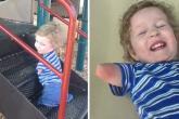 شاهد .. طفل مبتور الأطراف يشعل مواقع التواصل