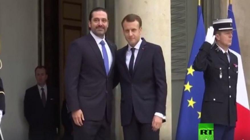 بالفيديو.. الرئيس الفرنسي يستقبل سعد الحريري في باريس