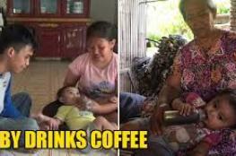 طفلة ترضع القهوة بدلا من الحليب!