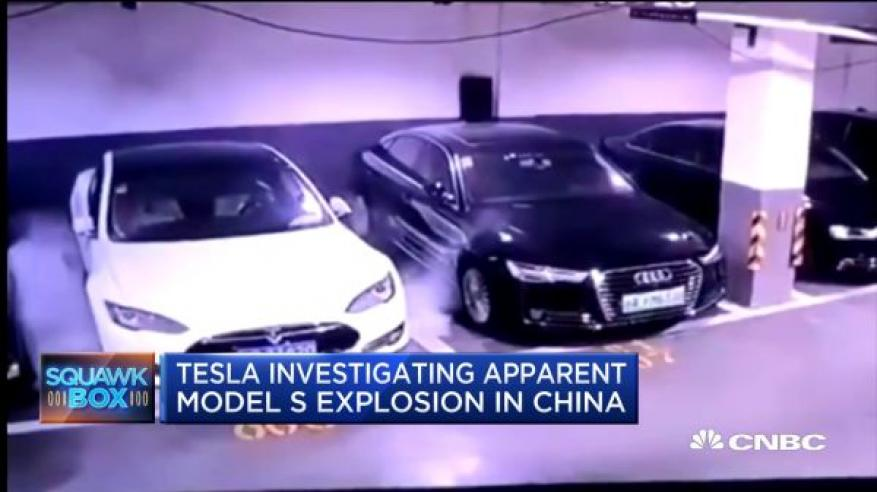 شاهد .. لحظة انفجار سيارة كهربائية في الصين