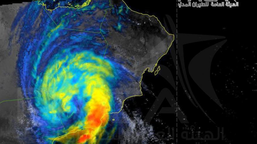 صورة الاعصار بالاقمار الصناعية يوم السبت