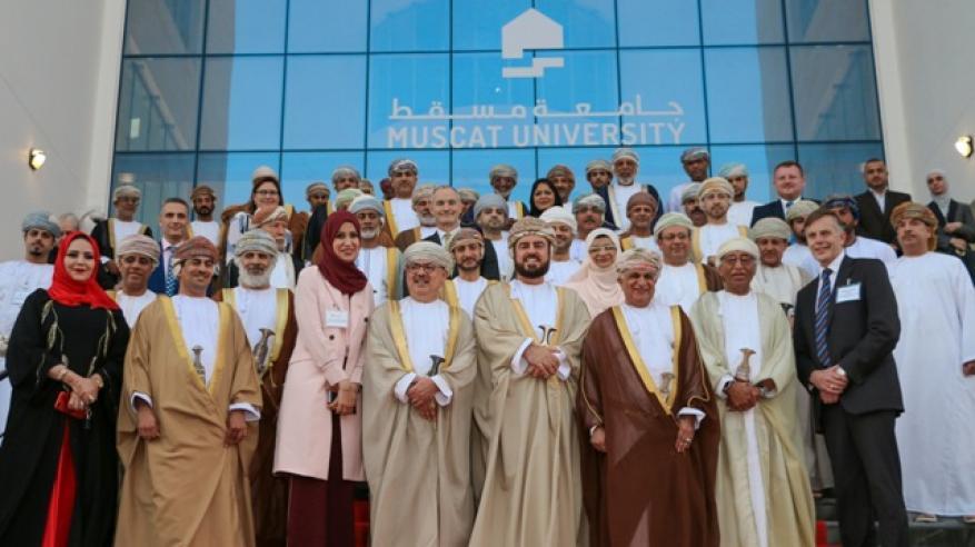 السيد أسعد يقص شريط افتتاح جامعة مسقط أحدث صرح تعليمي في السلطنة