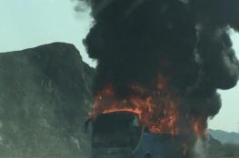 احتراق حافلة نقل ركاب على طريق (مسقط – نزوى)
