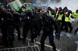 """الشرطة الفرنسية تستخدم مدافع المياه والغاز المسيل للدموع لتفريق محتجي """"السترات الصفراء"""""""